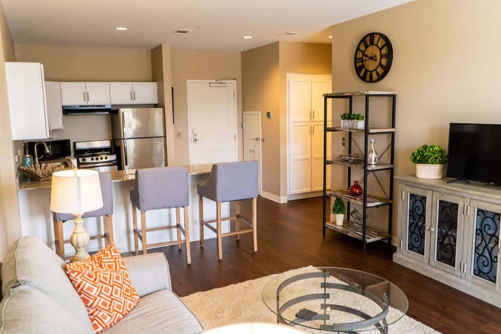 Apartment interior showing living area and kitchen