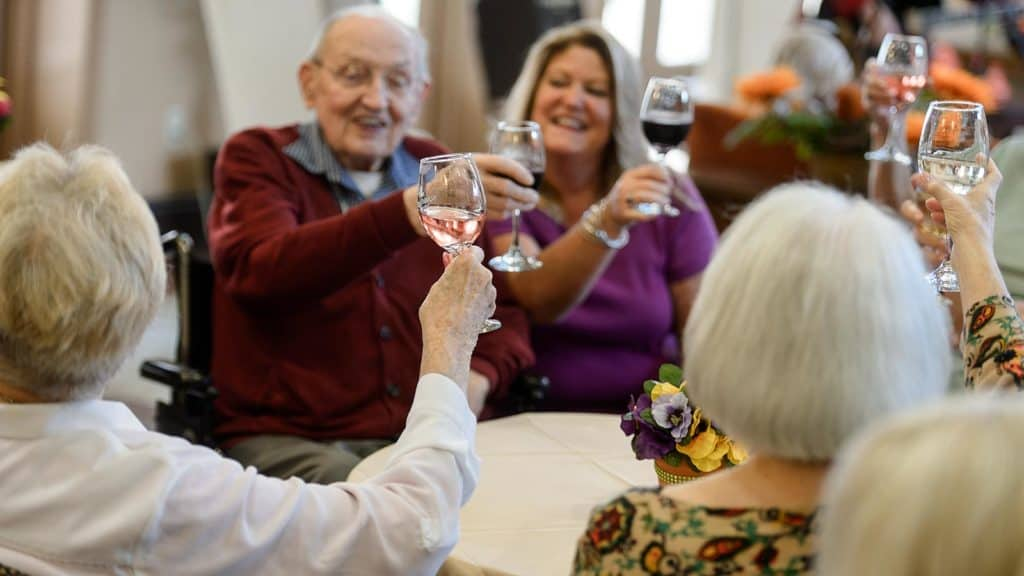 Group of seniors toasting wine glasses