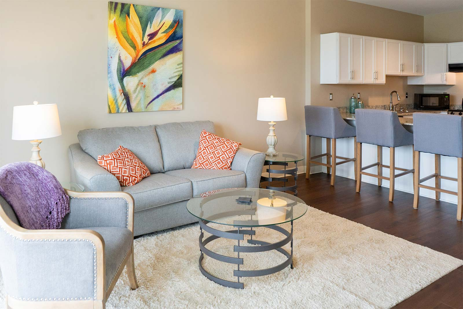Independent living apartment living room at The Arbors of Gulf Breeze in Gulf Breeze, FL