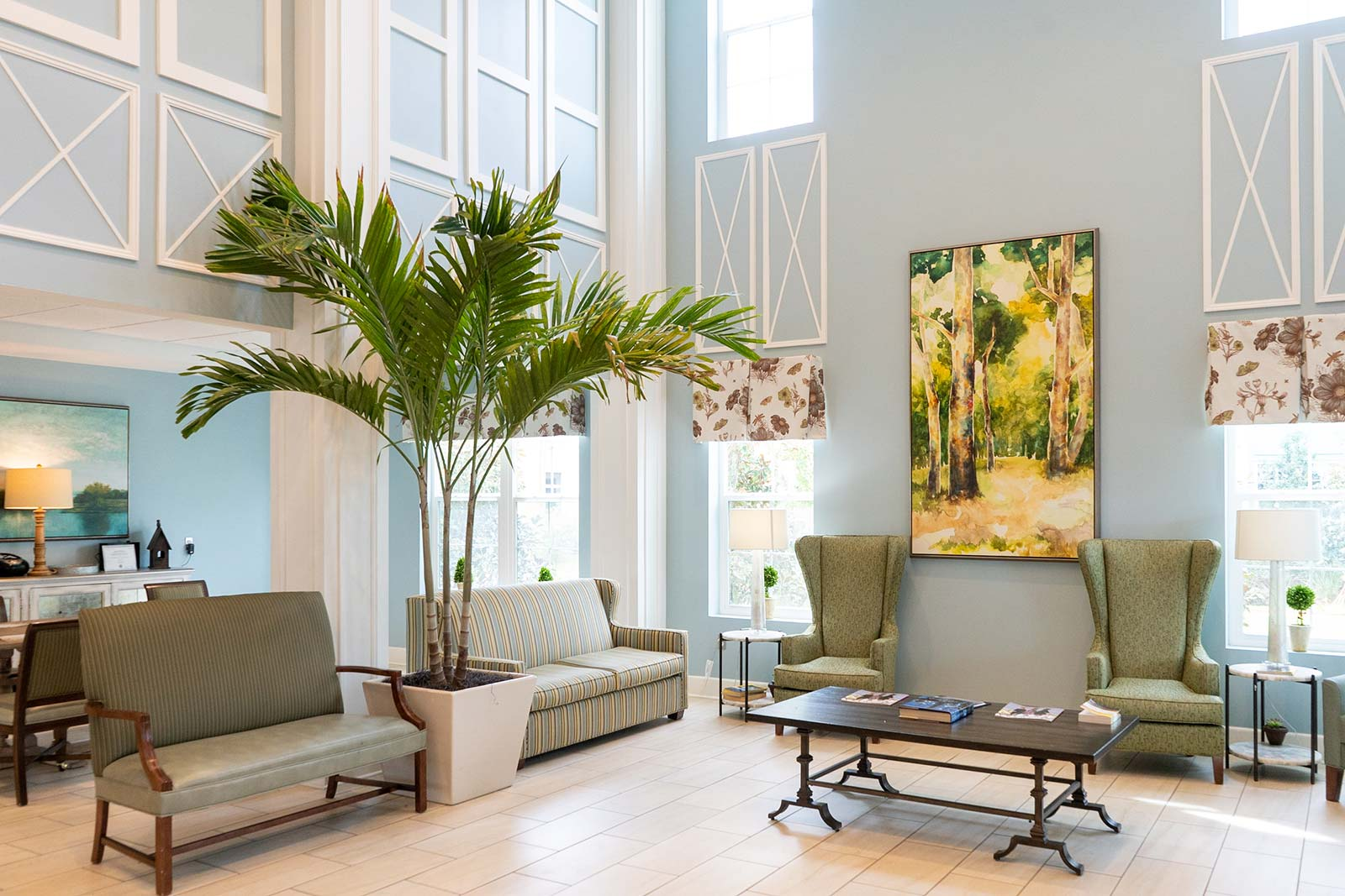 Front lobby and atrium at The Arbors of Gulf Breeze an Independent Living, Assisted Living and Memory Care community in Gulf Breeze, FL
