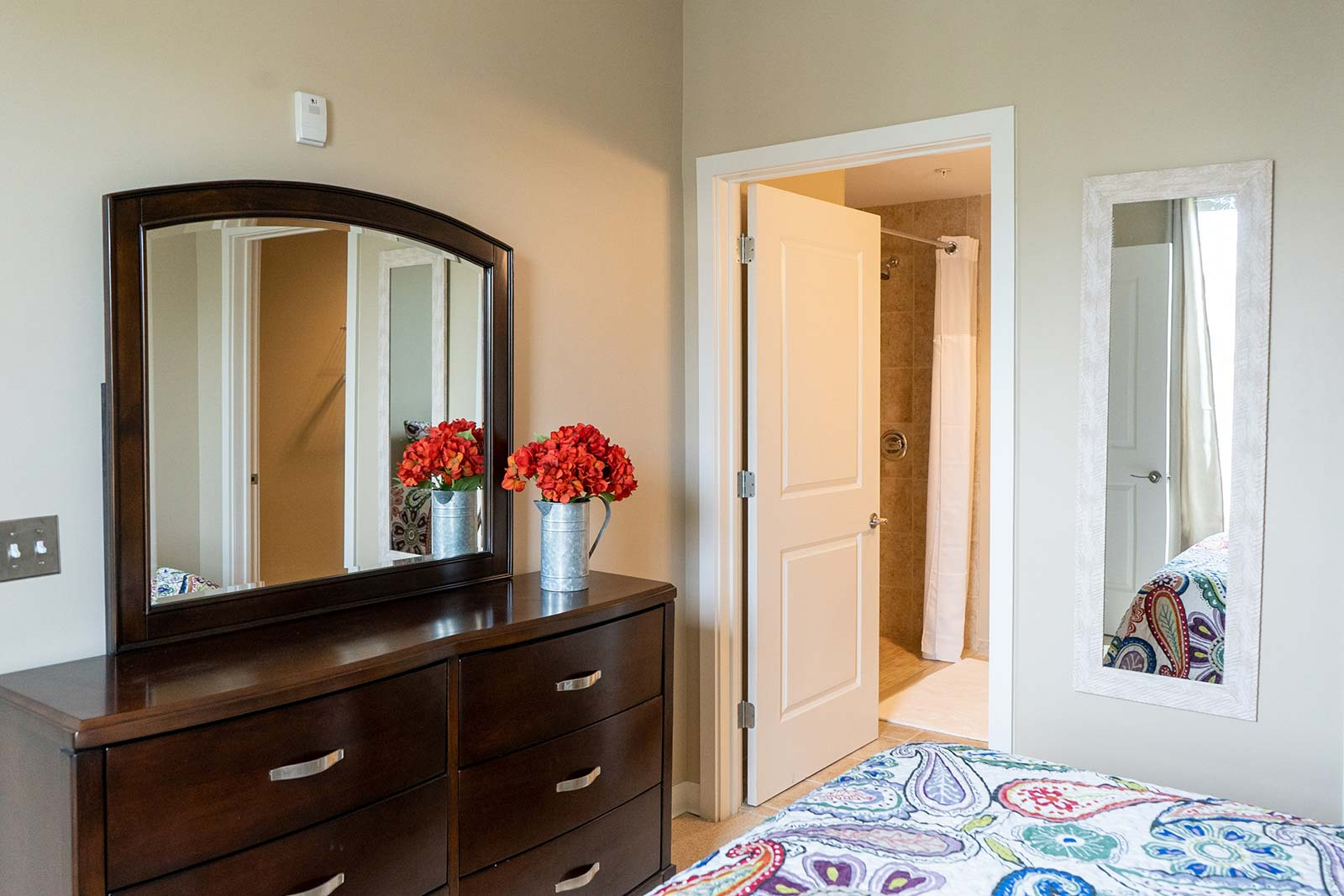 Assisted living apartment bedroom at The Arbors of Gulf Breeze in Gulf Breeze, FL